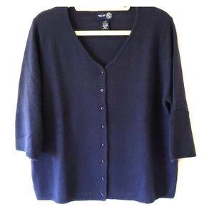 Plus size angora blend navy blue sweater